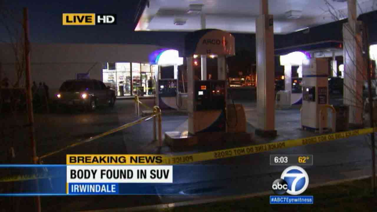 A woman was found dead inside a vehicle at an Arco gas station in the 100 block of East Longden Avenue in Irwindale Saturday, Jan. 31, 2015.