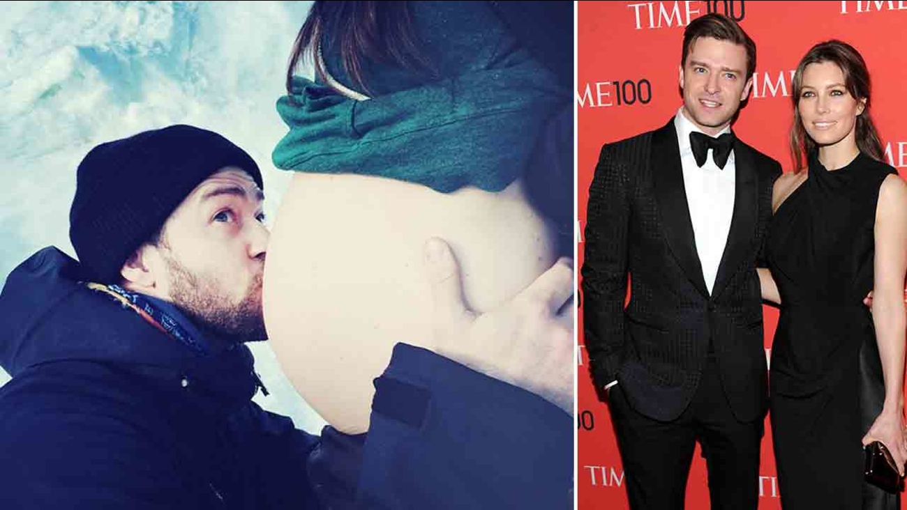 Justin Timberlake shared a picture of a bulging belly - presumably belonging to wife Jessica Biel - on Instagram Saturday, Jan. 31, 2015, his 34th birthday (left).