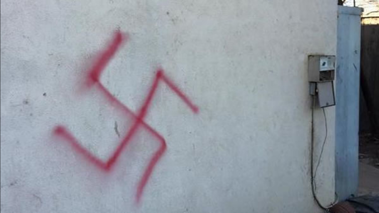 A swastika spray painted on a Jewish fraternity at UC Davis.
