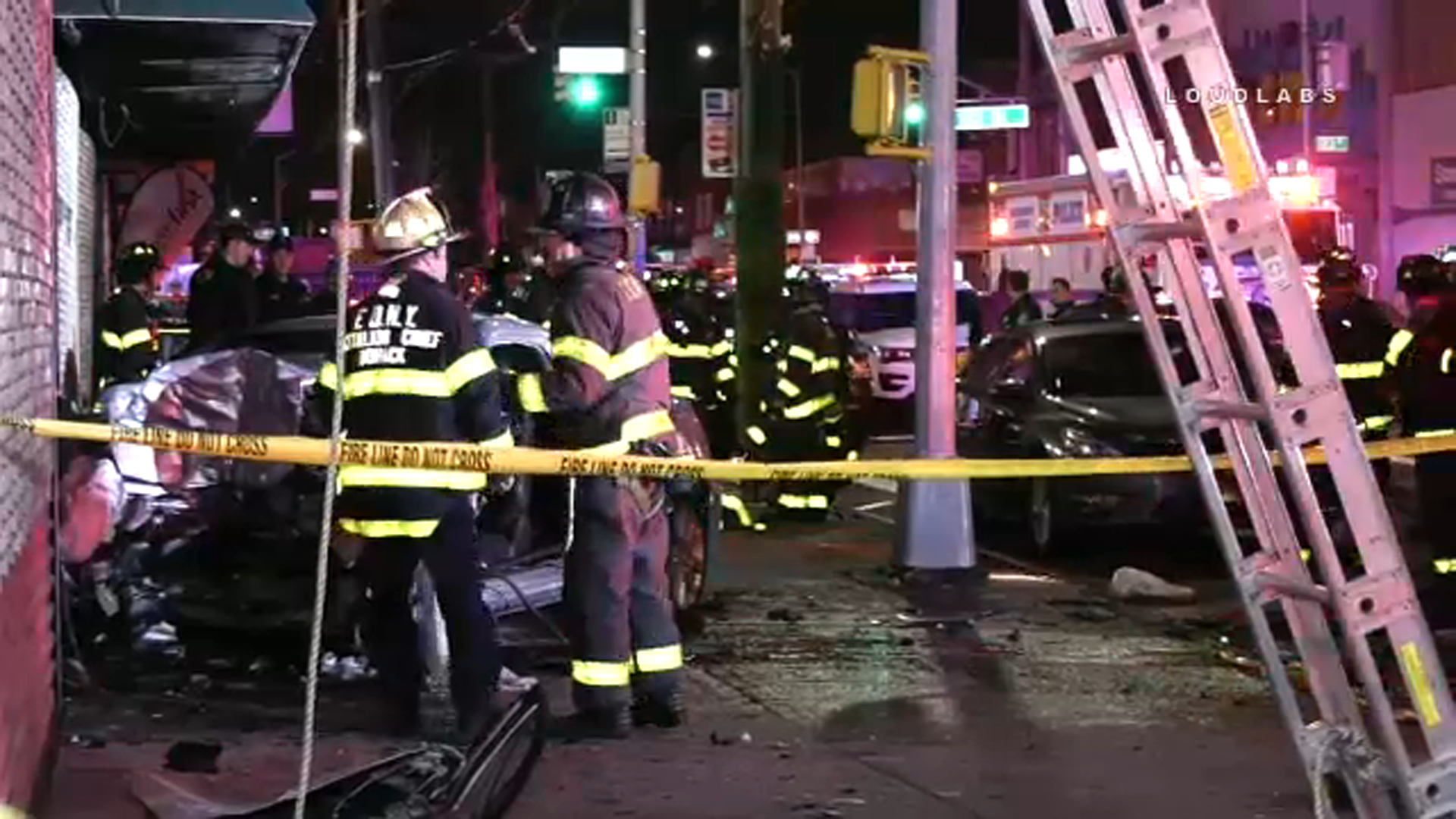 Video: 3 hurt, 1 critically, when car slams into Queens furniture store