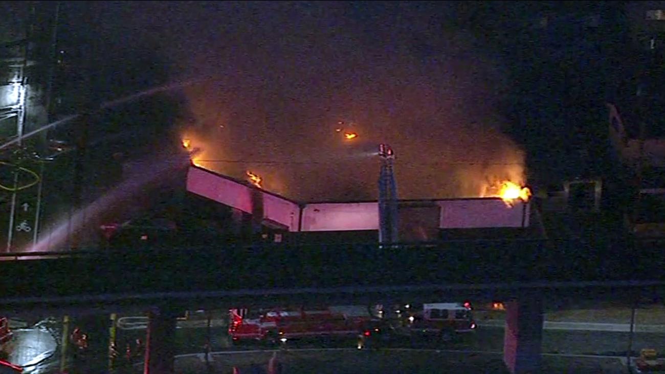 Warehouse fire in Oakland.
