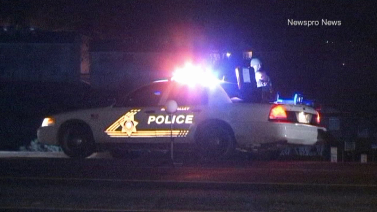 Apple Valley police investigate a hit-and-run crash of a woman walking on Highway 18 in Apple Valley on Monday, Feb. 2, 2015.