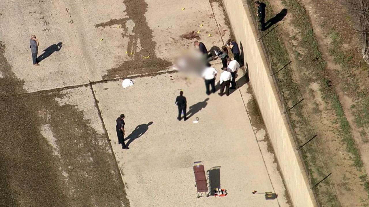 Los Angeles police investigate the circumstances surrounding a body found in Studio City on Monday, Feb. 2, 2015.