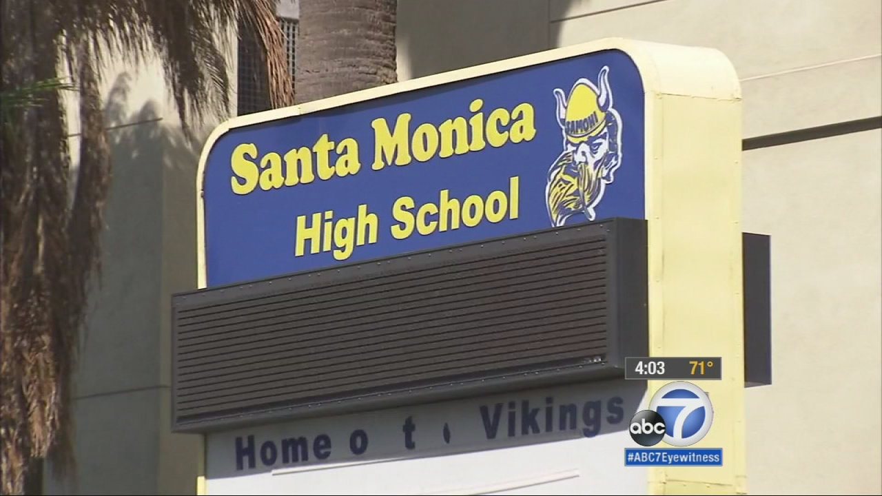 A sign outside Santa Monica High School is seen on Monday, Feb. 2, 2015.