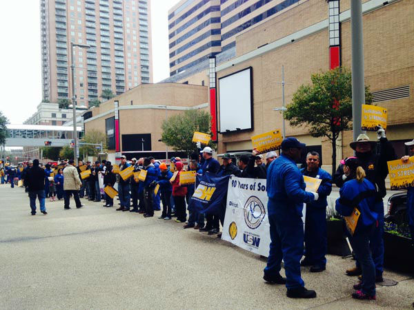 """<div class=""""meta image-caption""""><div class=""""origin-logo origin-image none""""><span>none</span></div><span class=""""caption-text"""">Striking Steelworker's Union workers took their message to the corporate headquarters for LyondellBasell in downtown Houston this morning. (KTRK Photo/ Charles Fisher)</span></div>"""