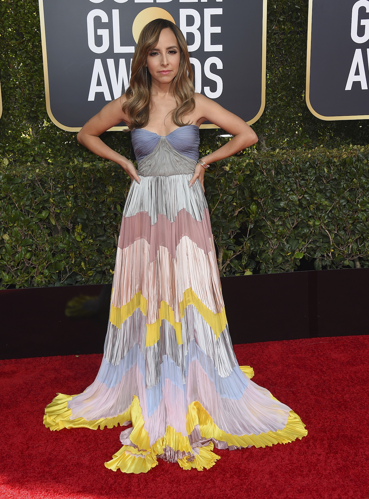 <div class='meta'><div class='origin-logo' data-origin='AP'></div><span class='caption-text' data-credit='Jordan Strauss/Invision/AP'>Lilliana Vazquez arrives at the 76th annual Golden Globe Awards at the Beverly Hilton Hotel on Sunday, Jan. 6, 2019, in Beverly Hills, Calif.</span></div>