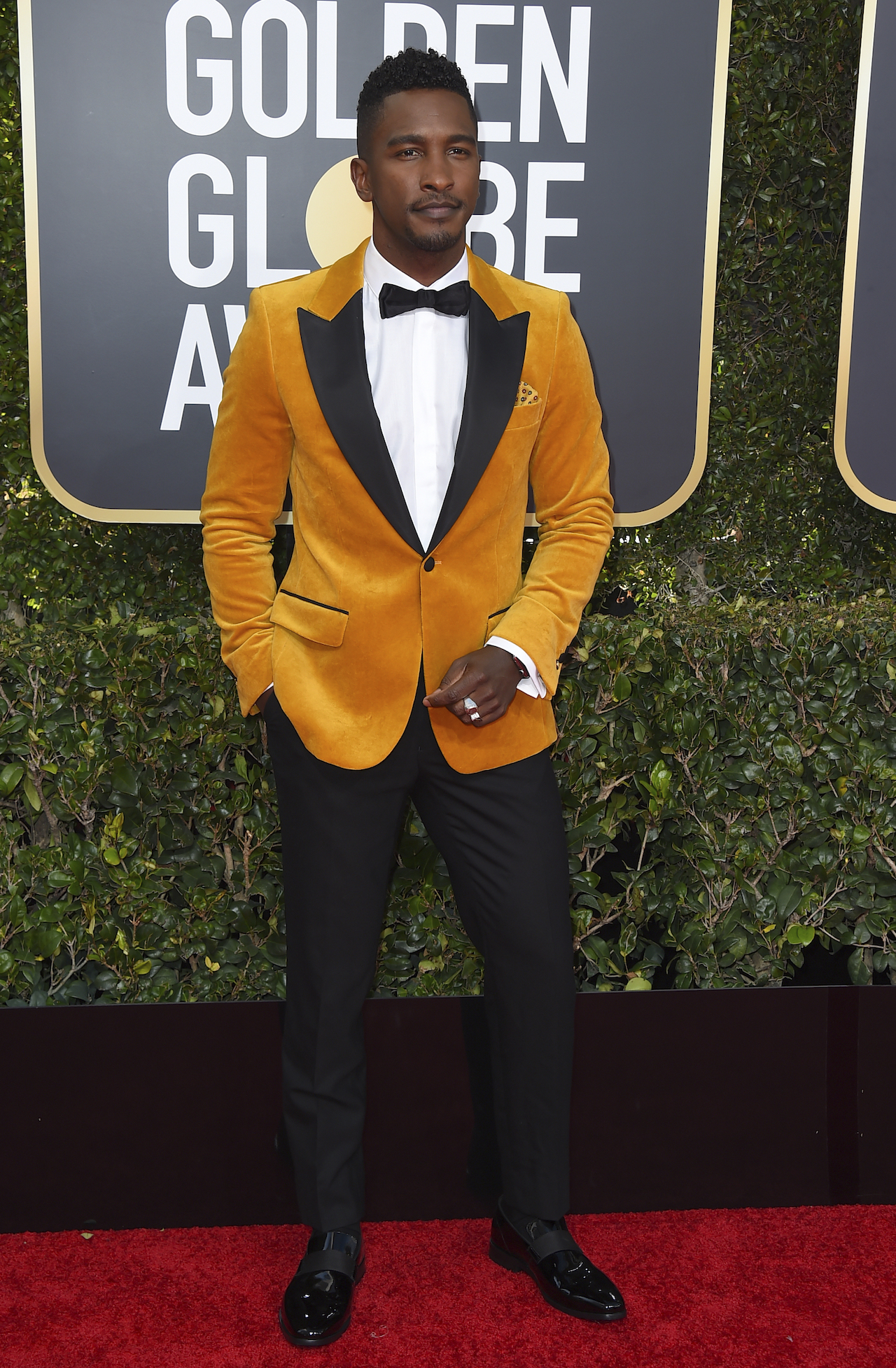 <div class='meta'><div class='origin-logo' data-origin='AP'></div><span class='caption-text' data-credit='Jordan Strauss/Invision/AP'>Scott Evans arrives at the 76th annual Golden Globe Awards at the Beverly Hilton Hotel on Sunday, Jan. 6, 2019, in Beverly Hills, Calif.</span></div>
