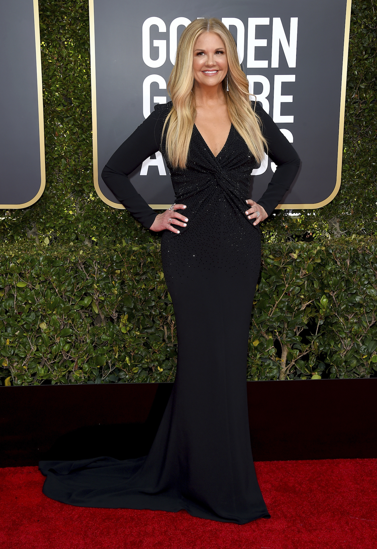 "<div class=""meta image-caption""><div class=""origin-logo origin-image ap""><span>AP</span></div><span class=""caption-text"">Nancy O'Dell arrives at the 76th annual Golden Globe Awards at the Beverly Hilton Hotel on Sunday, Jan. 6, 2019, in Beverly Hills, Calif. (Invision)</span></div>"