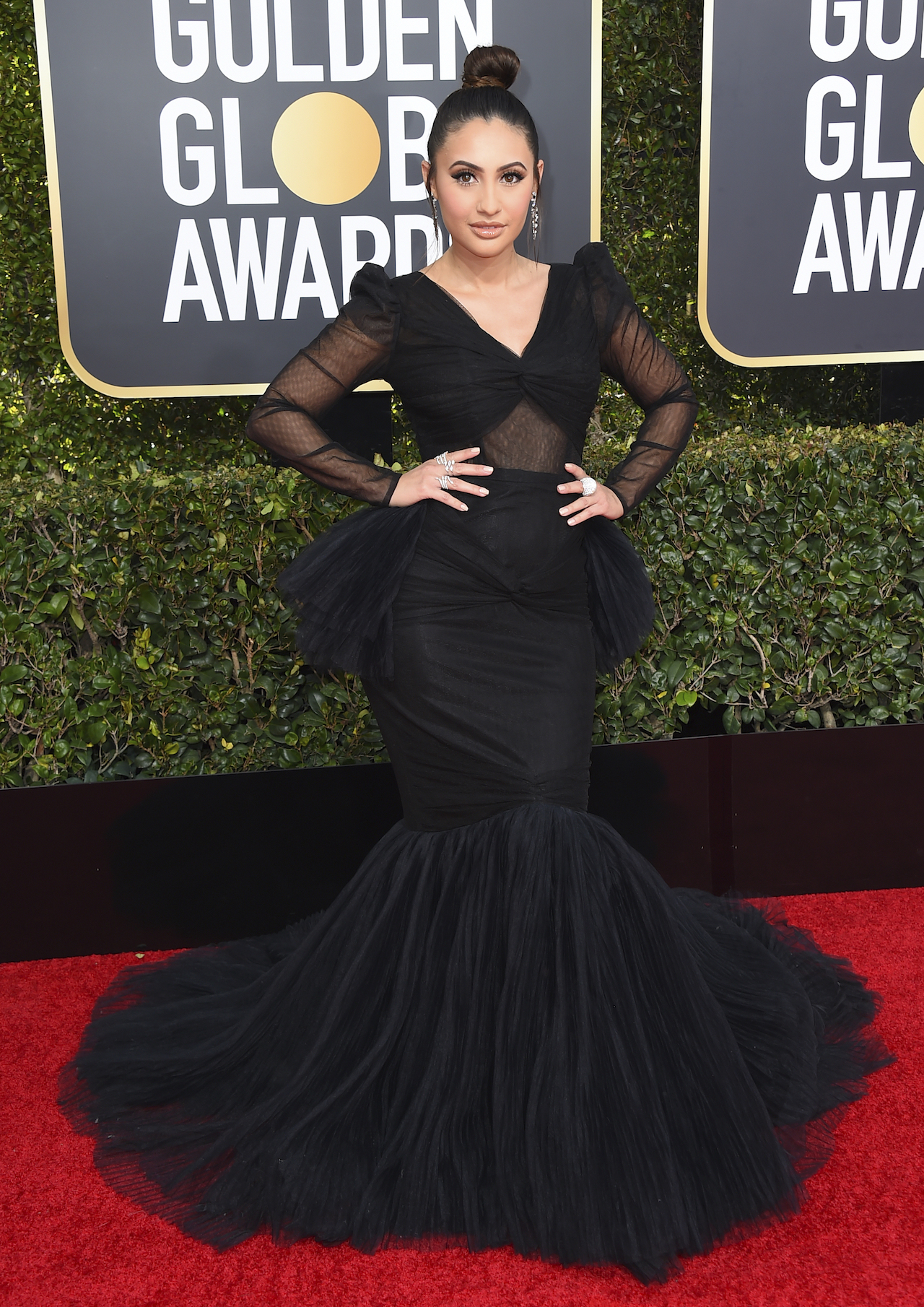 <div class='meta'><div class='origin-logo' data-origin='AP'></div><span class='caption-text' data-credit='Jordan Strauss/Invision/AP'>Francia Raisa arrives at the 76th annual Golden Globe Awards at the Beverly Hilton Hotel on Sunday, Jan. 6, 2019, in Beverly Hills, Calif.</span></div>