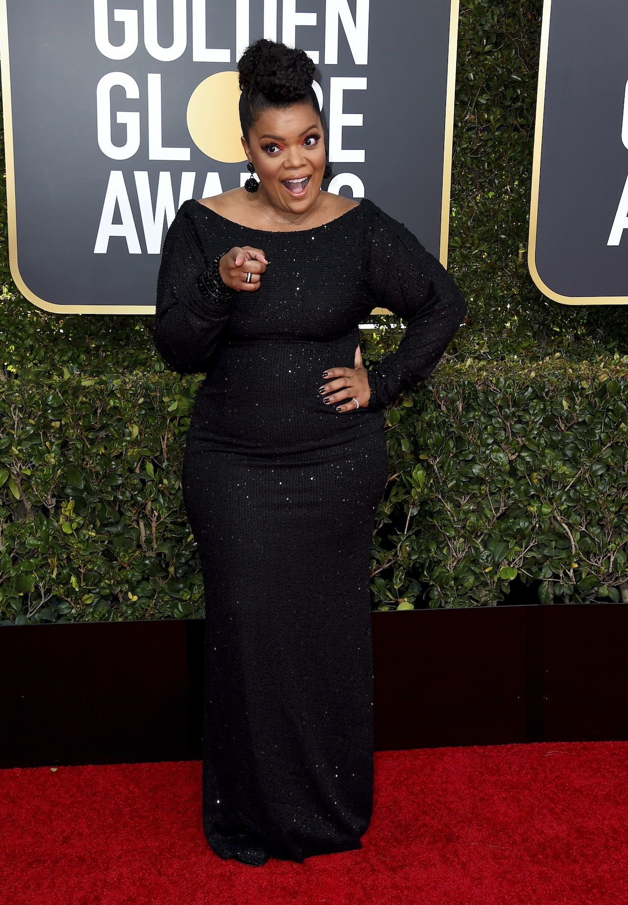 <div class='meta'><div class='origin-logo' data-origin='AP'></div><span class='caption-text' data-credit='Jordan Strauss/Invision/AP'>Yvette Nicole Brown arrives at the 76th annual Golden Globe Awards at the Beverly Hilton Hotel on Sunday, Jan. 6, 2019, in Beverly Hills, Calif.</span></div>