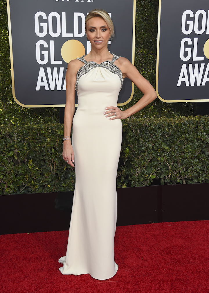"<div class=""meta image-caption""><div class=""origin-logo origin-image ap""><span>AP</span></div><span class=""caption-text"">Giuliana Rancic arrives at the 76th annual Golden Globe Awards at the Beverly Hilton Hotel on Sunday, Jan. 6, 2019, in Beverly Hills, Calif. (Invision)</span></div>"