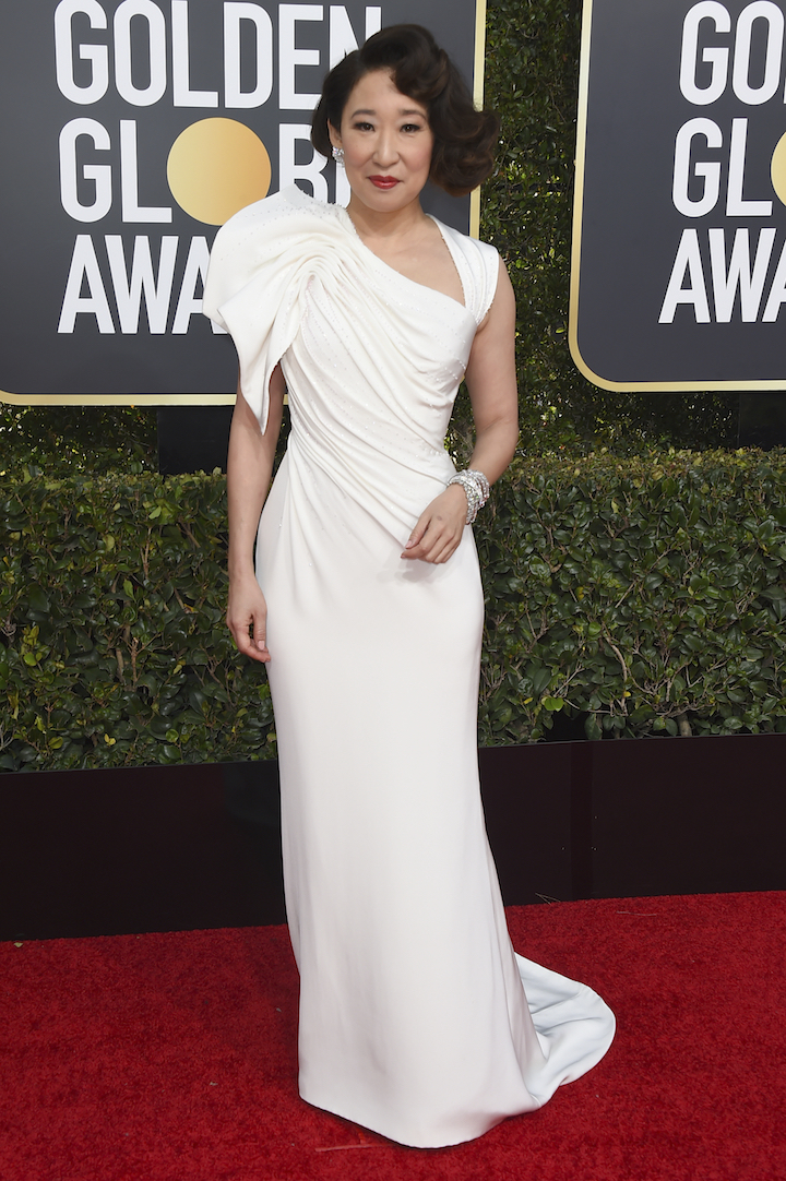 "<div class=""meta image-caption""><div class=""origin-logo origin-image ap""><span>AP</span></div><span class=""caption-text"">Sandra Oh arrives at the 76th annual Golden Globe Awards at the Beverly Hilton Hotel on Sunday, Jan. 6, 2019, in Beverly Hills, Calif. (Invision)</span></div>"