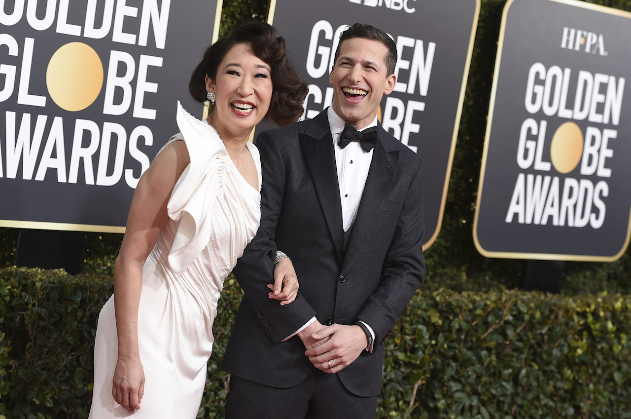 <div class='meta'><div class='origin-logo' data-origin='AP'></div><span class='caption-text' data-credit='Invision'>Hosts Sandra Oh, left, and Andy Samberg arrive at the 76th annual Golden Globe Awards at the Beverly Hilton Hotel on Sunday, Jan. 6, 2019, in Beverly Hills, Calif.</span></div>