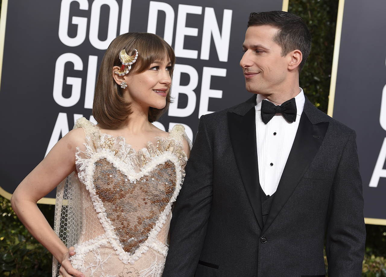 <div class='meta'><div class='origin-logo' data-origin='AP'></div><span class='caption-text' data-credit='Invision'>Joanna Newsom, left, and Andy Samberg arrive at the 76th annual Golden Globe Awards at the Beverly Hilton Hotel on Sunday, Jan. 6, 2019, in Beverly Hills, Calif.</span></div>