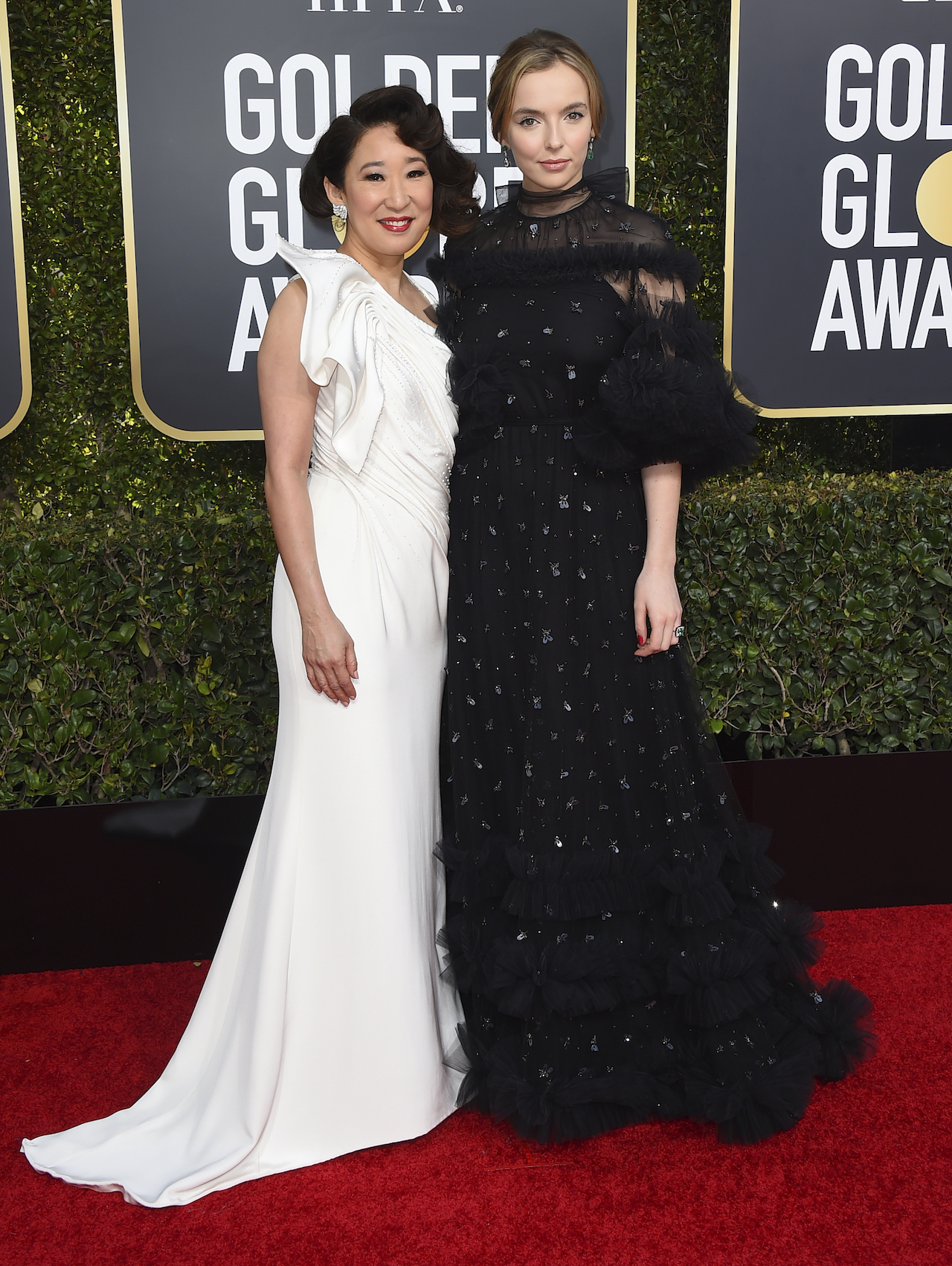 <div class='meta'><div class='origin-logo' data-origin='AP'></div><span class='caption-text' data-credit='Invision'>Sandra Oh, left, and Jodie Comer arrive at the 76th annual Golden Globe Awards at the Beverly Hilton Hotel on Sunday, Jan. 6, 2019, in Beverly Hills, Calif.</span></div>