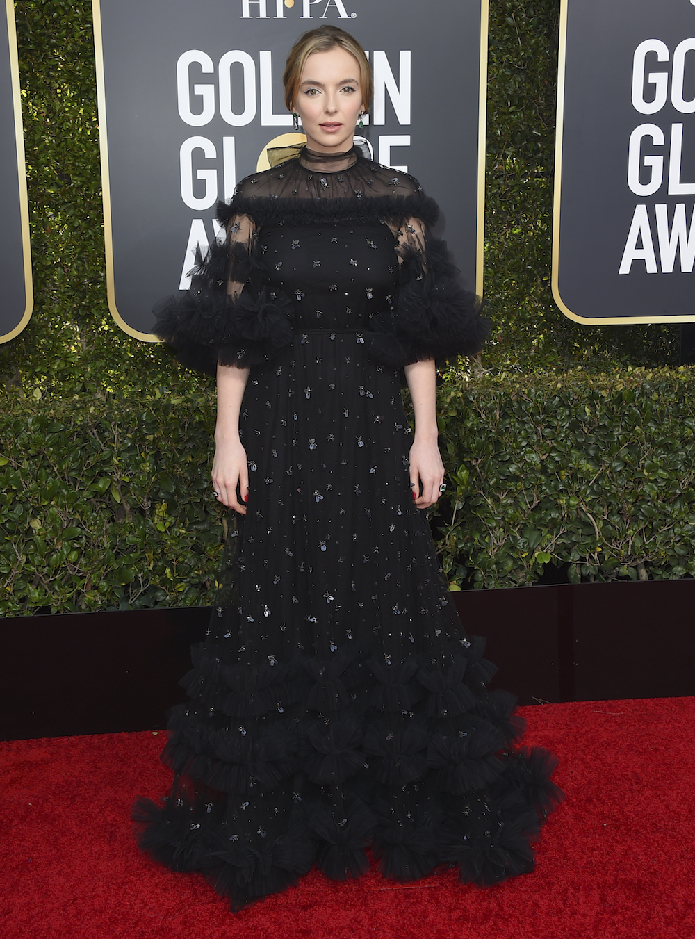 <div class='meta'><div class='origin-logo' data-origin='AP'></div><span class='caption-text' data-credit='Invision'>Jodie Comer arrives at the 76th annual Golden Globe Awards at the Beverly Hilton Hotel on Sunday, Jan. 6, 2019, in Beverly Hills, Calif.</span></div>