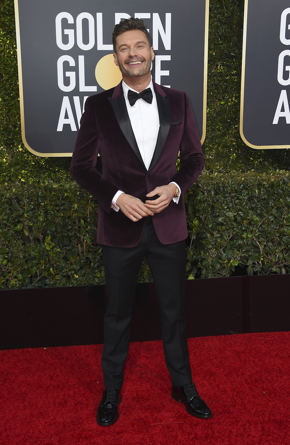 "<div class=""meta image-caption""><div class=""origin-logo origin-image ap""><span>AP</span></div><span class=""caption-text"">Ryan Seacrest arrives at the 76th annual Golden Globe Awards at the Beverly Hilton Hotel on Sunday, Jan. 6, 2019, in Beverly Hills, Calif. (Invision)</span></div>"