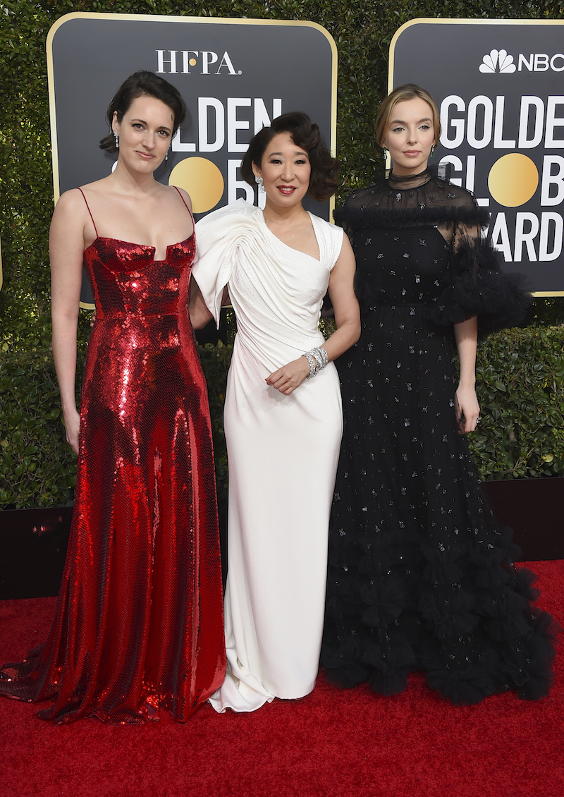<div class='meta'><div class='origin-logo' data-origin='AP'></div><span class='caption-text' data-credit='Jordan Strauss/Invision/AP'>Phoebe Waller-Bridge, from left, Sandra Oh and Jodie Comer arrive at the 76th annual Golden Globe Awards at the Beverly Hilton Hotel on Sunday, Jan. 6, 2019, in Beverly Hills.</span></div>