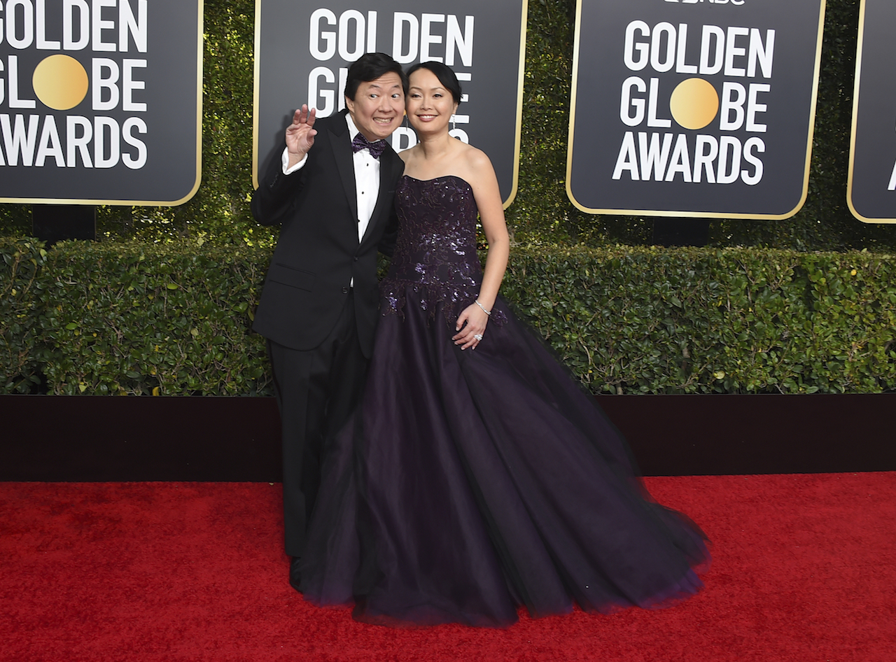 <div class='meta'><div class='origin-logo' data-origin='AP'></div><span class='caption-text' data-credit='Jordan Strauss/Invision/AP'>Ken Jeong, left, and Tran Jeong arrive at the 76th annual Golden Globe Awards at the Beverly Hilton Hotel on Sunday, Jan. 6, 2019, in Beverly Hills, Calif.</span></div>