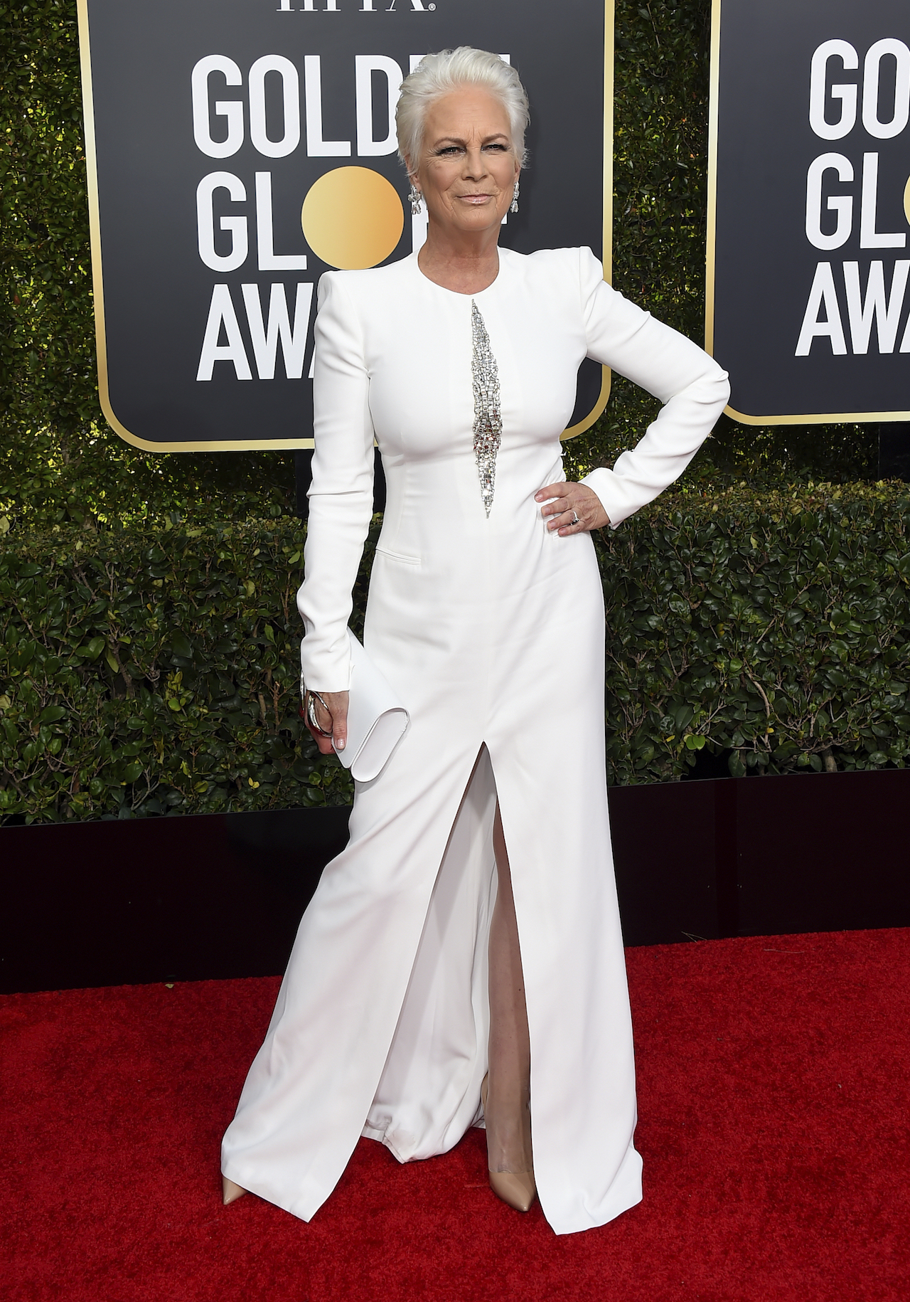 <div class='meta'><div class='origin-logo' data-origin='AP'></div><span class='caption-text' data-credit='Jordan Strauss/Invision/AP'>Jamie Lee Curtis arrives at the 76th annual Golden Globe Awards at the Beverly Hilton Hotel on Sunday, Jan. 6, 2019, in Beverly Hills, Calif.</span></div>