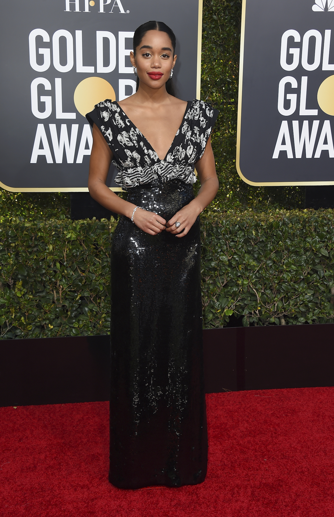 <div class='meta'><div class='origin-logo' data-origin='AP'></div><span class='caption-text' data-credit='Jordan Strauss/Invision/AP'>Laura Harrier arrives at the 76th annual Golden Globe Awards at the Beverly Hilton Hotel on Sunday, Jan. 6, 2019, in Beverly Hills, Calif.</span></div>