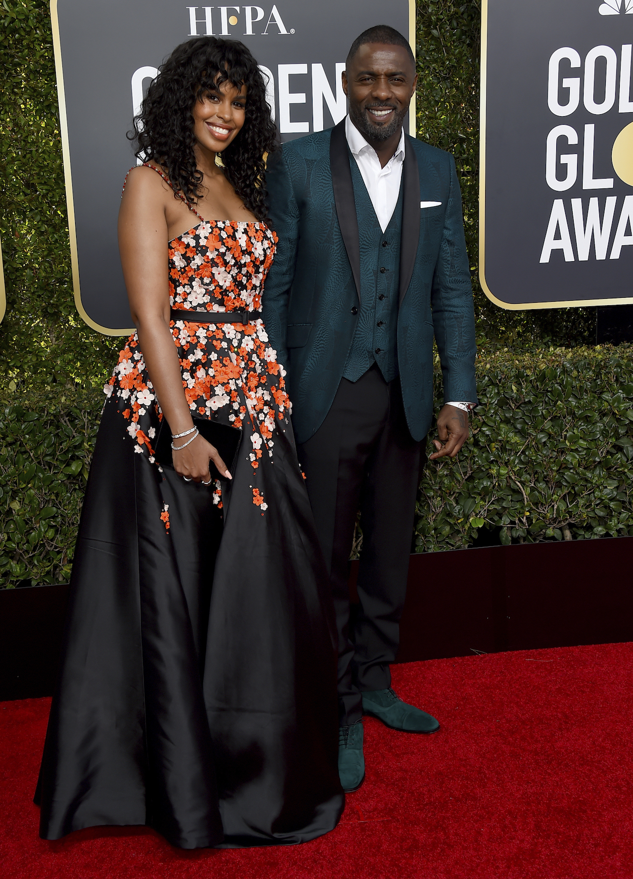 <div class='meta'><div class='origin-logo' data-origin='AP'></div><span class='caption-text' data-credit='Jordan Strauss/Invision/AP'>Idris Elba, right, and Sabrina Dhowre arrive at the 76th annual Golden Globe Awards at the Beverly Hilton Hotel on Sunday, Jan. 6, 2019, in Beverly Hills, Calif.</span></div>