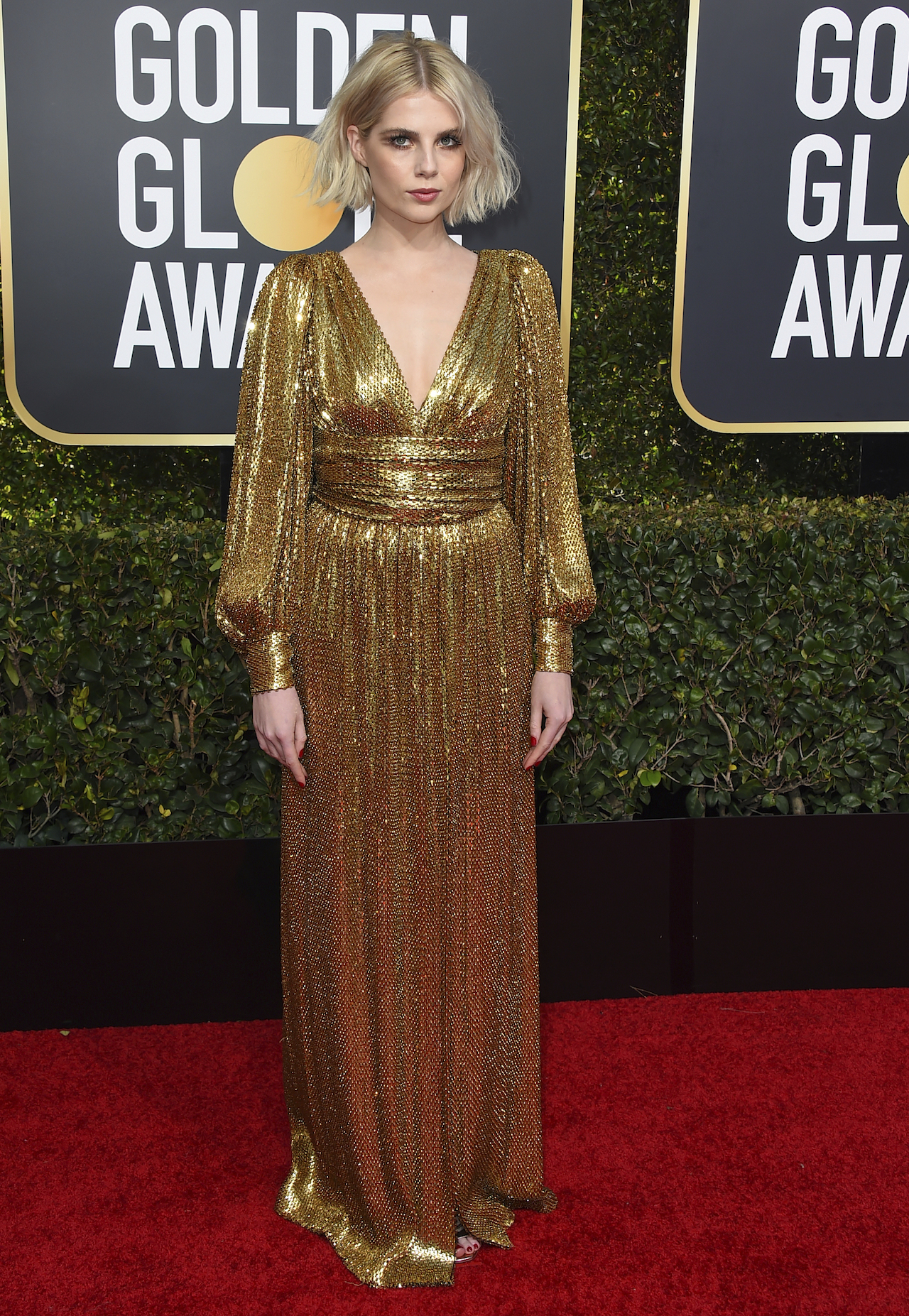 <div class='meta'><div class='origin-logo' data-origin='AP'></div><span class='caption-text' data-credit='Jordan Strauss/Invision/AP'>Lucy Boynton arrives at the 76th annual Golden Globe Awards at the Beverly Hilton Hotel on Sunday, Jan. 6, 2019, in Beverly Hills, Calif.</span></div>