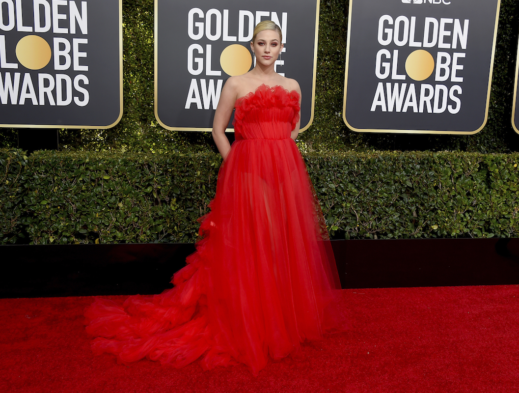 <div class='meta'><div class='origin-logo' data-origin='AP'></div><span class='caption-text' data-credit='Jordan Strauss/Invision/AP'>Lili Reinhart arrives at the 76th annual Golden Globe Awards at the Beverly Hilton Hotel on Sunday, Jan. 6, 2019, in Beverly Hills, Calif.</span></div>