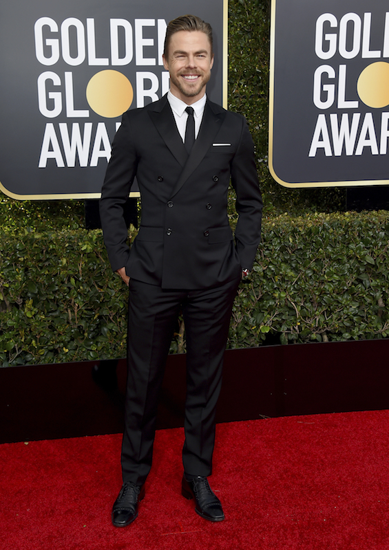 "<div class=""meta image-caption""><div class=""origin-logo origin-image ap""><span>AP</span></div><span class=""caption-text"">Derek Hough arrives at the 76th annual Golden Globe Awards at the Beverly Hilton Hotel on Sunday, Jan. 6, 2019, in Beverly Hills, Calif. (Jordan Strauss/Invision/AP)</span></div>"