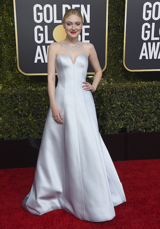 <div class='meta'><div class='origin-logo' data-origin='AP'></div><span class='caption-text' data-credit='Jordan Strauss/Invision/AP'>Dakota Fanning arrives at the 76th annual Golden Globe Awards at the Beverly Hilton Hotel on Sunday, Jan. 6, 2019, in Beverly Hills, Calif.</span></div>