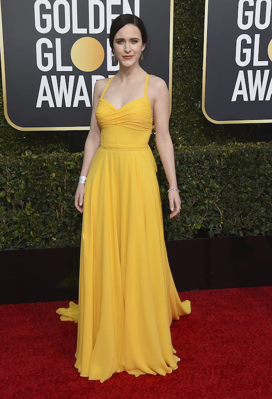 <div class='meta'><div class='origin-logo' data-origin='AP'></div><span class='caption-text' data-credit='Jordan Strauss/Invision/AP'>Rachel Brosnahan arrives at the 76th annual Golden Globe Awards at the Beverly Hilton Hotel on Sunday, Jan. 6, 2019, in Beverly Hills, Calif.</span></div>