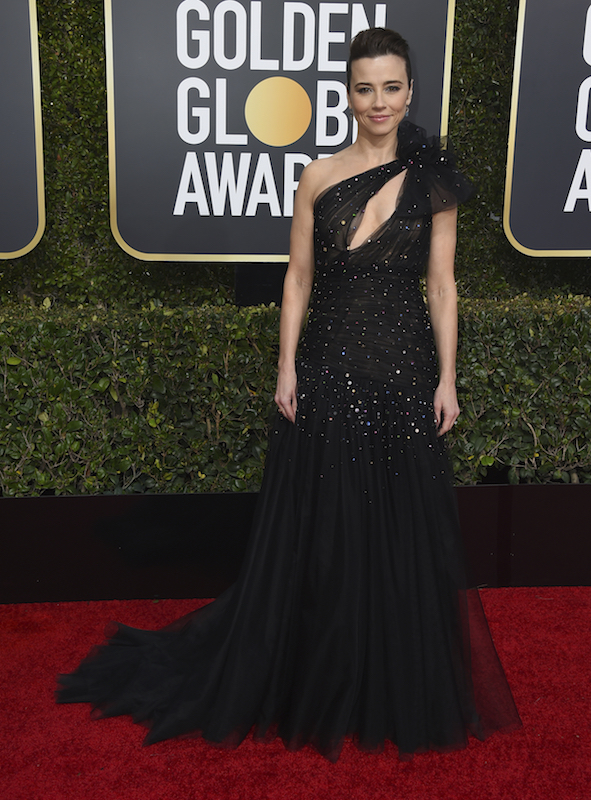 <div class='meta'><div class='origin-logo' data-origin='AP'></div><span class='caption-text' data-credit='Jordan Strauss/Invision/AP'>Linda Cardellini arrives at the 76th annual Golden Globe Awards at the Beverly Hilton Hotel on Sunday, Jan. 6, 2019, in Beverly Hills, Calif.</span></div>