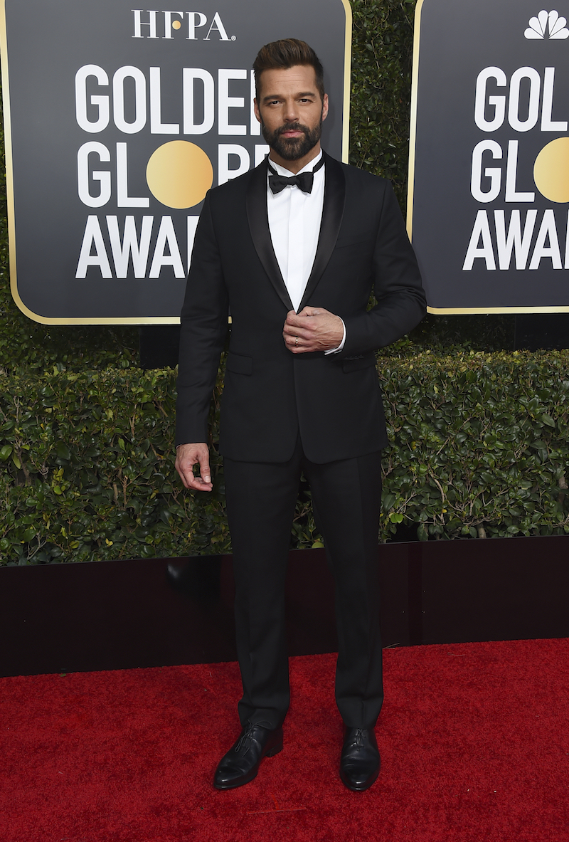 <div class='meta'><div class='origin-logo' data-origin='AP'></div><span class='caption-text' data-credit='Jordan Strauss/Invision/AP'>Ricky Martin arrives at the 76th annual Golden Globe Awards at the Beverly Hilton Hotel on Sunday, Jan. 6, 2019, in Beverly Hills, Calif.</span></div>