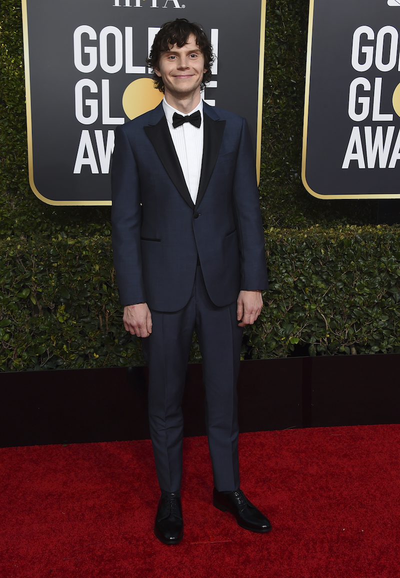 <div class='meta'><div class='origin-logo' data-origin='AP'></div><span class='caption-text' data-credit='Jordan Strauss/Invision/AP'>Evan Peters arrives at the 76th annual Golden Globe Awards at the Beverly Hilton Hotel on Sunday, Jan. 6, 2019, in Beverly Hills, Calif.</span></div>