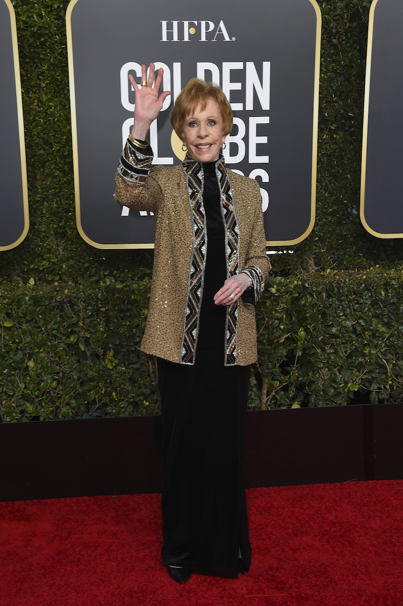 <div class='meta'><div class='origin-logo' data-origin='AP'></div><span class='caption-text' data-credit='Jordan Strauss/Invision/AP'>Carol Burnett arrives at the 76th annual Golden Globe Awards at the Beverly Hilton Hotel on Sunday, Jan. 6, 2019, in Beverly Hills, Calif.</span></div>