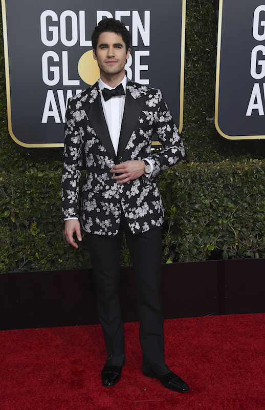 "<div class=""meta image-caption""><div class=""origin-logo origin-image ap""><span>AP</span></div><span class=""caption-text"">Darren Criss arrives at the 76th annual Golden Globe Awards at the Beverly Hilton Hotel on Sunday, Jan. 6, 2019, in Beverly Hills, Calif. (Jordan Strauss/Invision/AP)</span></div>"