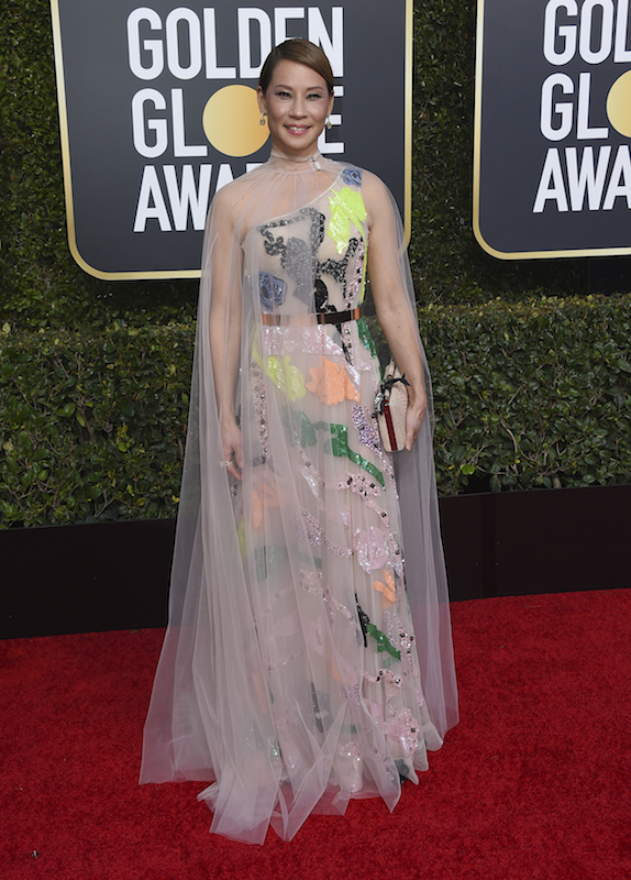 <div class='meta'><div class='origin-logo' data-origin='AP'></div><span class='caption-text' data-credit='Jordan Strauss/Invision/AP'>Lucy Liu arrives at the 76th annual Golden Globe Awards at the Beverly Hilton Hotel on Sunday, Jan. 6, 2019, in Beverly Hills, Calif.</span></div>