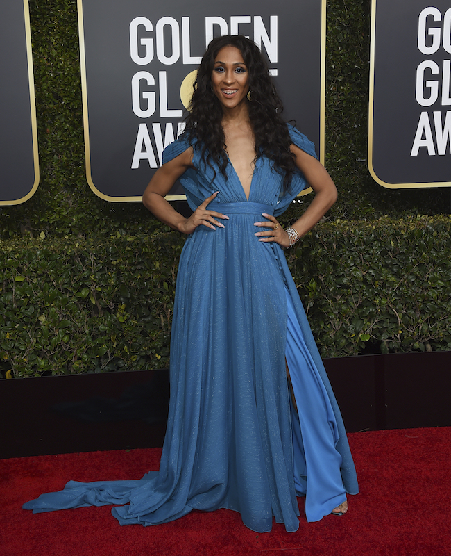 <div class='meta'><div class='origin-logo' data-origin='AP'></div><span class='caption-text' data-credit='Jordan Strauss/Invision/AP'>Mj Rodriguez arrives at the 76th annual Golden Globe Awards at the Beverly Hilton Hotel on Sunday, Jan. 6, 2019, in Beverly Hills, Calif.</span></div>