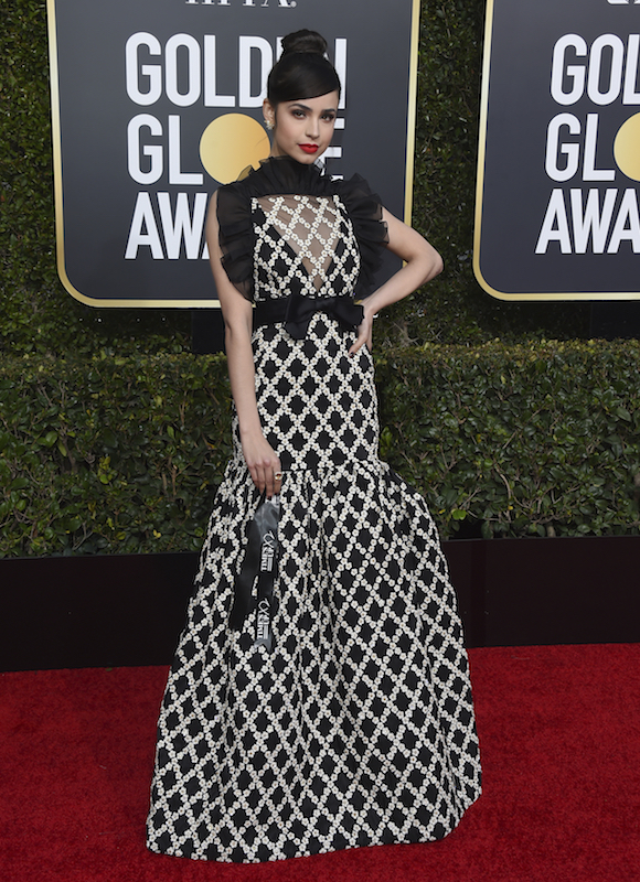 <div class='meta'><div class='origin-logo' data-origin='AP'></div><span class='caption-text' data-credit='Jordan Strauss/Invision/AP'>Sofia Carson holds a Times Up ribbon as she arrives at the 76th annual Golden Globe Awards at the Beverly Hilton Hotel on Sunday, Jan. 6, 2019, in Beverly Hills, Calif.</span></div>