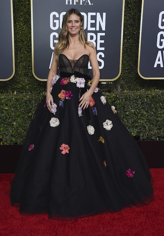"<div class=""meta image-caption""><div class=""origin-logo origin-image ap""><span>AP</span></div><span class=""caption-text"">Heidi Klum arrives at the 76th annual Golden Globe Awards at the Beverly Hilton Hotel on Sunday, Jan. 6, 2019, in Beverly Hills, Calif. (Jordan Strauss/Invision/AP)</span></div>"