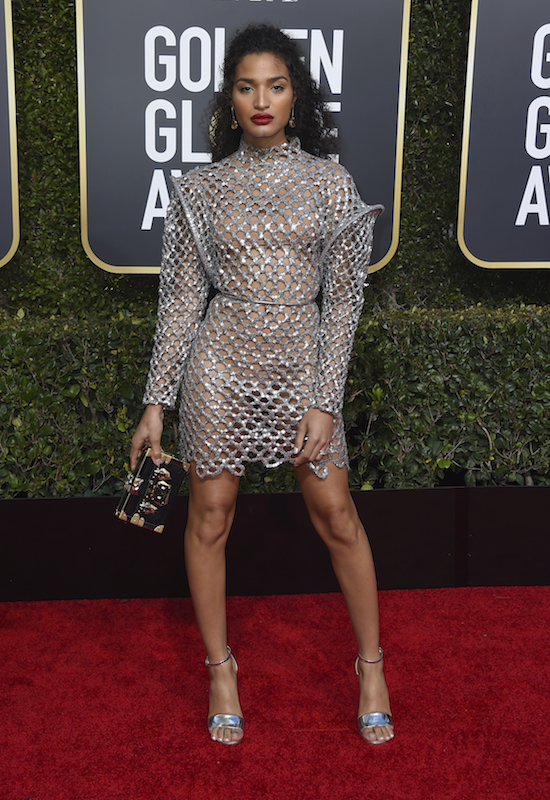 <div class='meta'><div class='origin-logo' data-origin='AP'></div><span class='caption-text' data-credit='Jordan Strauss/Invision/AP'>Indya Moore arrives at the 76th annual Golden Globe Awards at the Beverly Hilton Hotel on Sunday, Jan. 6, 2019, in Beverly Hills, Calif.</span></div>