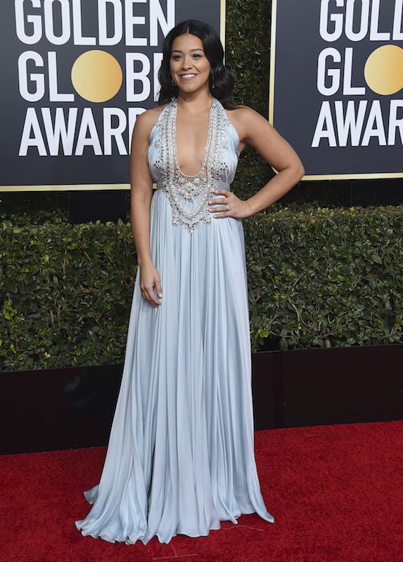 "<div class=""meta image-caption""><div class=""origin-logo origin-image ap""><span>AP</span></div><span class=""caption-text"">Gina Rodriguez arrives at the 76th annual Golden Globe Awards at the Beverly Hilton Hotel on Sunday, Jan. 6, 2019, in Beverly Hills, Calif. (Jordan Strauss/Invision/AP)</span></div>"
