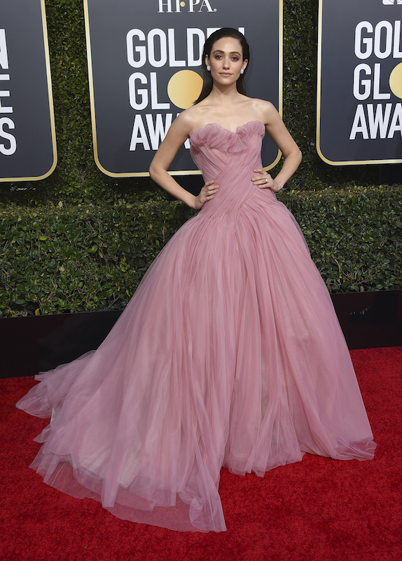 <div class='meta'><div class='origin-logo' data-origin='AP'></div><span class='caption-text' data-credit='Jordan Strauss/Invision/AP'>Emmy Rossum arrives at the 76th annual Golden Globe Awards at the Beverly Hilton Hotel on Sunday, Jan. 6, 2019, in Beverly Hills, Calif.</span></div>