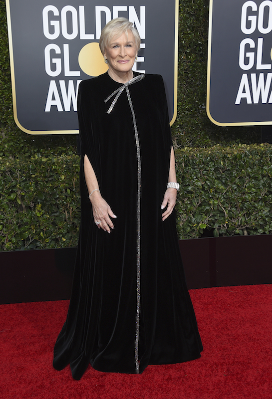 <div class='meta'><div class='origin-logo' data-origin='AP'></div><span class='caption-text' data-credit='Jordan Strauss/Invision/AP'>Glenn Close arrives at the 76th annual Golden Globe Awards at the Beverly Hilton Hotel on Sunday, Jan. 6, 2019, in Beverly Hills, Calif.</span></div>
