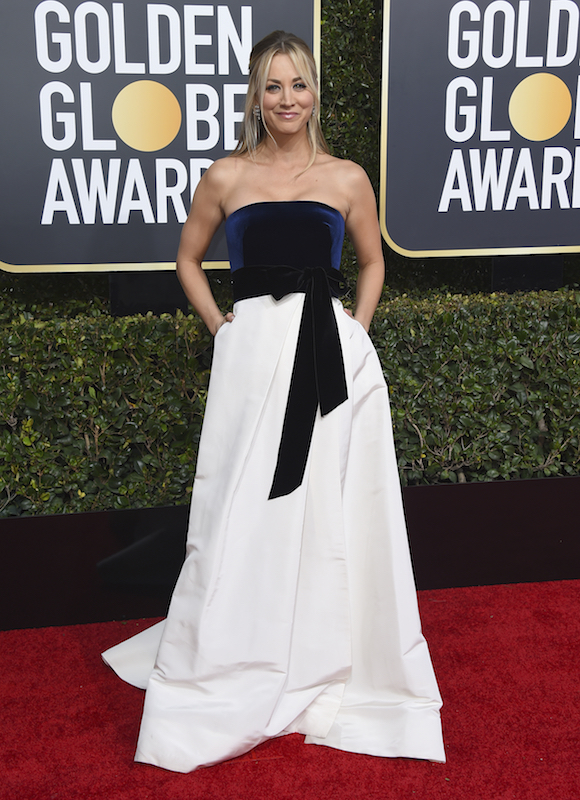 <div class='meta'><div class='origin-logo' data-origin='AP'></div><span class='caption-text' data-credit='Jordan Strauss/Invision/AP'>Kaley Cuoco arrives at the 76th annual Golden Globe Awards at the Beverly Hilton Hotel on Sunday, Jan. 6, 2019, in Beverly Hills, Calif.</span></div>