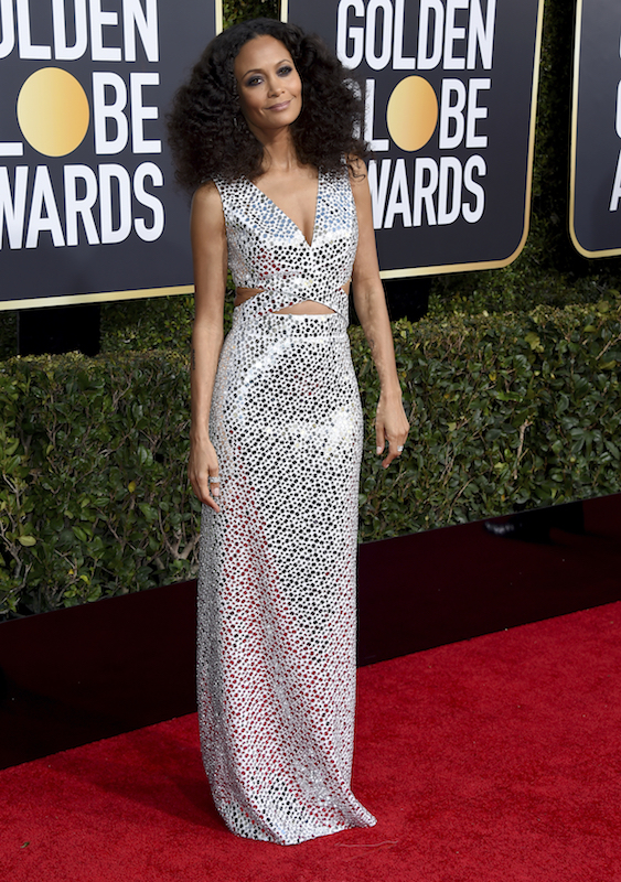 <div class='meta'><div class='origin-logo' data-origin='AP'></div><span class='caption-text' data-credit='Jordan Strauss/Invision/AP'>Thandie Newton arrives at the 76th annual Golden Globe Awards at the Beverly Hilton Hotel on Sunday, Jan. 6, 2019, in Beverly Hills, Calif.</span></div>