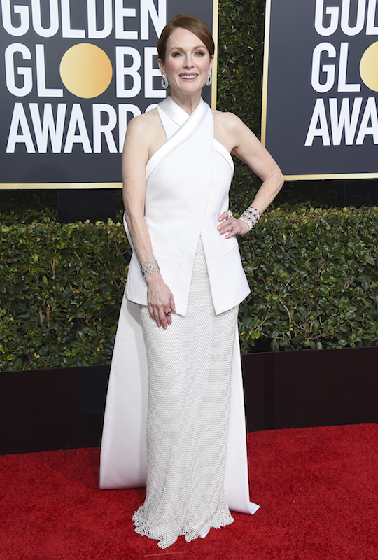 "<div class=""meta image-caption""><div class=""origin-logo origin-image ap""><span>AP</span></div><span class=""caption-text"">Julianne Moore arrives at the 76th annual Golden Globe Awards at the Beverly Hilton Hotel on Sunday, Jan. 6, 2019, in Beverly Hills, Calif. (Jordan Strauss/Invision/AP)</span></div>"