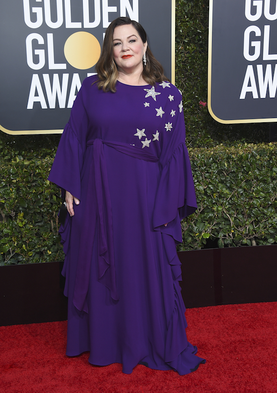 <div class='meta'><div class='origin-logo' data-origin='AP'></div><span class='caption-text' data-credit='Jordan Strauss/Invision/AP'>Melissa McCarthy arrives at the 76th annual Golden Globe Awards at the Beverly Hilton Hotel on Sunday, Jan. 6, 2019, in Beverly Hills, Calif.</span></div>
