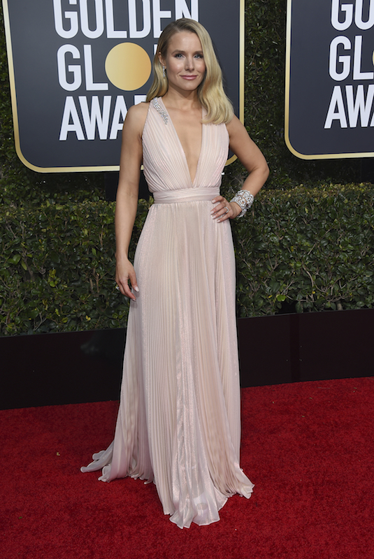 <div class='meta'><div class='origin-logo' data-origin='AP'></div><span class='caption-text' data-credit='Jordan Strauss/Invision/AP'>Kristen Bell arrives at the 76th annual Golden Globe Awards at the Beverly Hilton Hotel on Sunday, Jan. 6, 2019, in Beverly Hills, Calif.</span></div>