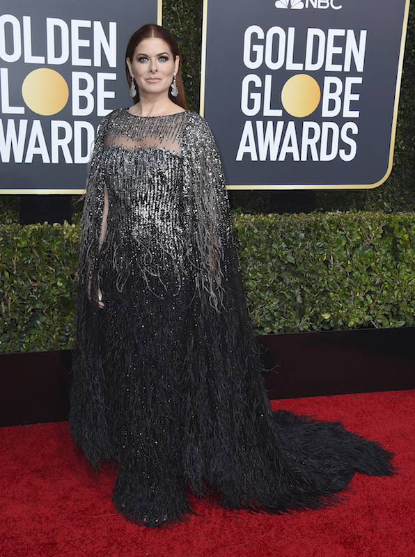 <div class='meta'><div class='origin-logo' data-origin='AP'></div><span class='caption-text' data-credit='Jordan Strauss/Invision/AP'>Debra Messing arrives at the 76th annual Golden Globe Awards at the Beverly Hilton Hotel on Sunday, Jan. 6, 2019, in Beverly Hills, Calif.</span></div>